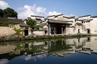 Hongcun village: the crescent-shaped Moon Pond.